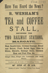Advert for R Wrenham's tea & coffee stall, Margate station